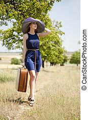 countryside., girl, solitaire, valise