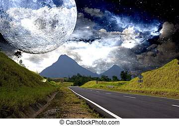 Countryside Highway with Galactic Background - Image of a...