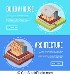 Countryside house architecture posters set