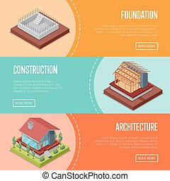 Countryside house building posters set