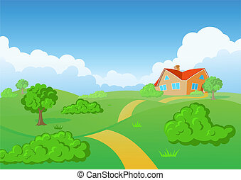 Background nature. Green grass, Blue sky, trees, clouds, cottadge. Realty.