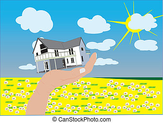 Countryside House - House in hand with field clouds sky and...