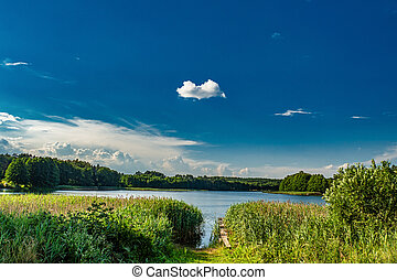 Countryside Lake and Forest Panorama. Sunny Summer Landscape With Blue Sky and White Clouds