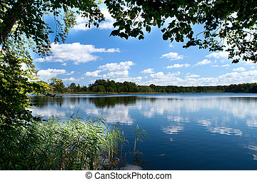 countryside lake  - Summer scenic with countryside lake
