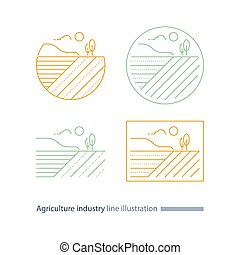 Countryside landscape, agriculture field line icon, furrow,...