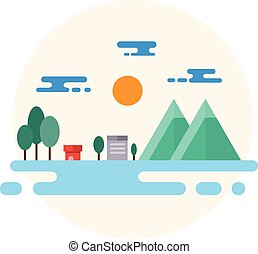 Countryside Landscape Illustration. Flat Design.