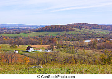 Countryside landscape in autumn state park.
