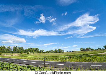 Countryside landscape with a bicycle path