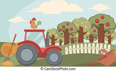Countryside landscape with fruitful orchard and red tractor...