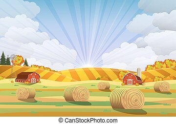 Countryside landscape with haystacks on fields.