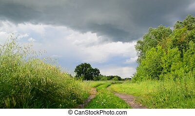 Countryside landscape with road before the storm. Russia -...