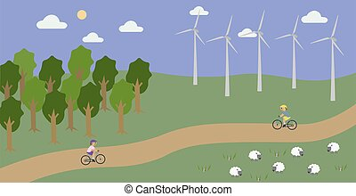 Countryside landscape with wind turbines and cycling people.