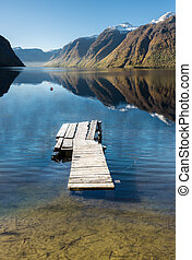wooden bridge on a lake in the mountains