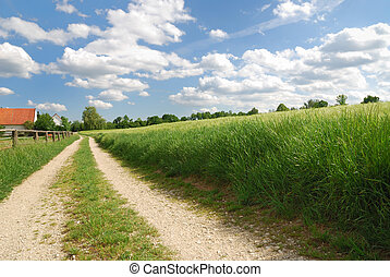 Countryside - Lonely country path in Bavaria with a farm.