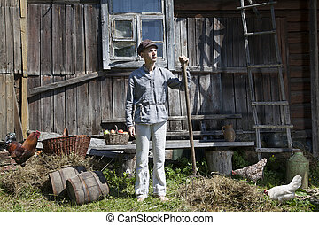 Countryside man with a pitchfork