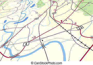 Countryside map - Editable vector illustration of a generic ...