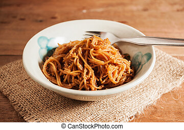 Countryside noodle in a old bowl on wooden