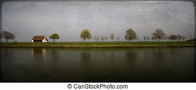 countryside., omodern, artistisk, landskap