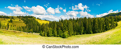 countryside panorama in early autumn. lovely landscape with...