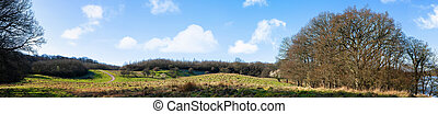 Countryside panorama landscape in the early spring