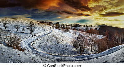 Countryside road at sunset, winter