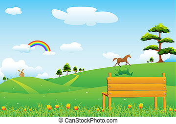 Countryside Rural Scene - illustration of countryside rural...