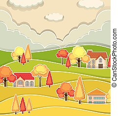 Countryside scene with houses and tree in autumn