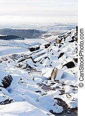 Countryside snow scene in winter