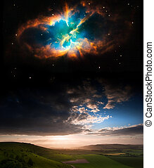 Countryside sunset landscape with planets in night sky Elements of this image furnished by NASA. gov