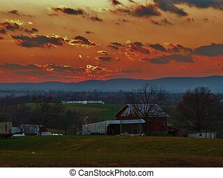 Countryside Sunset Scenery - landscape with...