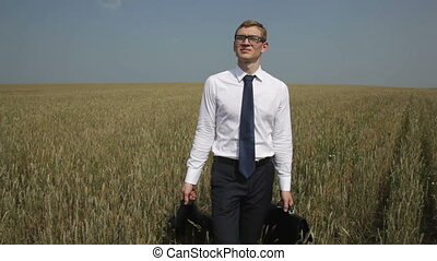 Countryside vacation - Young office worker spending his...