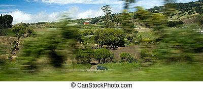 Countryside view from fast moving car in Costa Rica