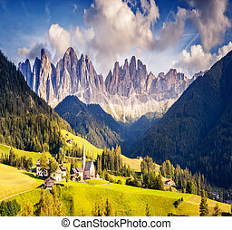 Countryside view of the Funes valley. Dolomites, South Tyrol. Location Bolzano, Italy, Europe.