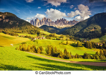 Countryside view of the Funes valley St. Magdalena or Santa ...