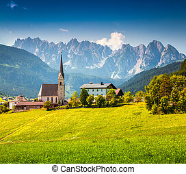 Countryside view of the Gosau village at summer sunny day....