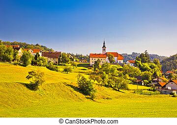 Countryside village in Slovenia springtime view