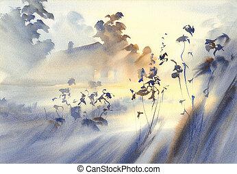 countryside watercolor landscape