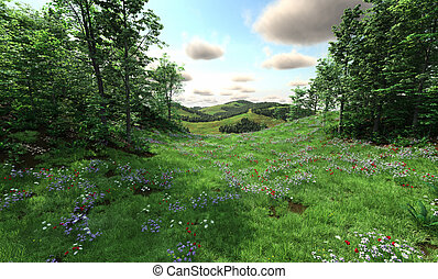 Countryside with meadows and hills - Countryside view with...