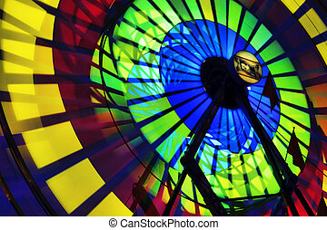 County Fair - Amusement Rides with Movement Blur in the ...