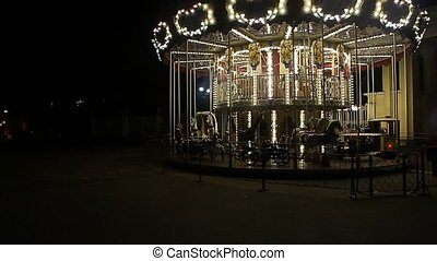 County fair fairground merry-go-round at night