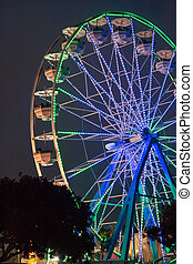 County Fair Ferris Wheel at Night - Large ferris wheel...