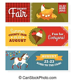 County fair vintage banners vector illustration