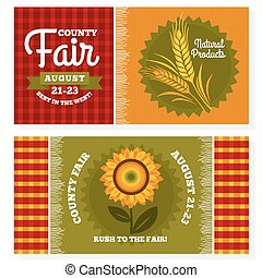 County fair vintage invitation cards vector illustration