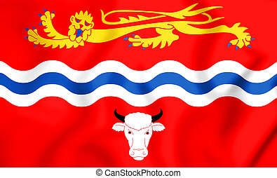 3D Flag of Herefordshire County, England. 3D Illustration.