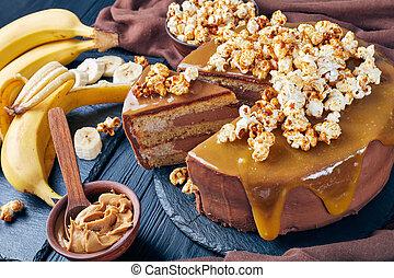coupé, éponge, gros plan, gâteau, banane