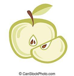 coupé, blanc, pommes, isolé
