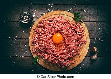 coupé, bois, viande, rouges, arrière-plan.