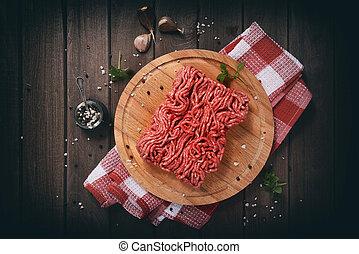 coupé, bois, viande, table