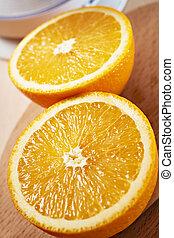 coupé deux, vertical, bois, juteux, oranges, closeup,...