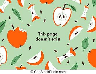 coupé, fond, vecteur, pommes, page, erreur, mangé